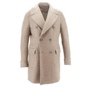 Cappotto doppiopetto micro-fantasia tessuto Colombo (beige)