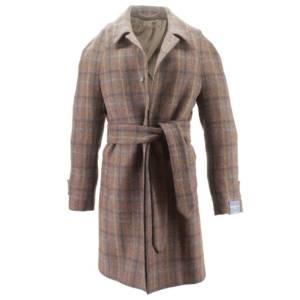 Cappotto monopetto a quadri tessuto Harris Tweed