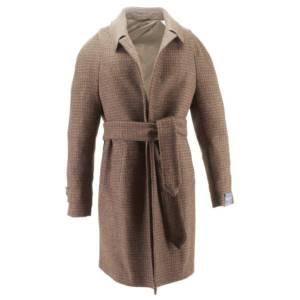 Cappotto monopetto micro-fantasia con cintura tessuto Harris Tweed (marrone)