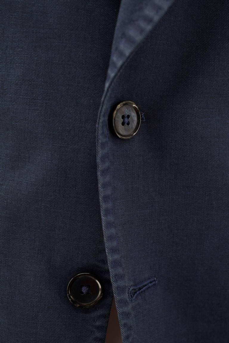 Giacca due bottoni blu indaco misto lino (dettaglio)