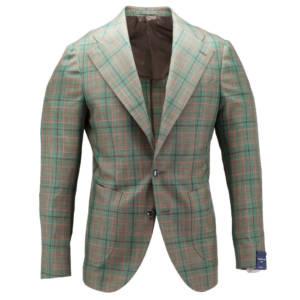 Giacca tre bottoni a quadri tessuto Ariston Wool & Silk & Linen