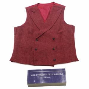 Gilet doppiopetto lana vergine rosso rubino