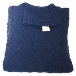 Dolcevita Drumohr a trecce in lana merino blu