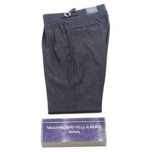 Pantalone doppia pince Della Mura Pied de poule blu