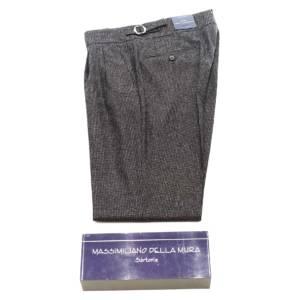 Pantalone doppia pince Della Mura Pied de poule marrone