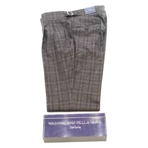 Pantalone doppia pince Della Mura Principe di Galles marrone