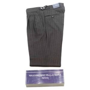 Pantalone doppia pince Della Mura a resca marrone