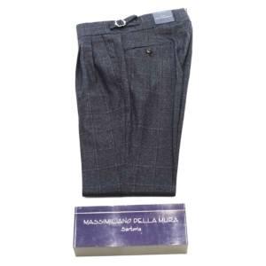 Pantalone doppia pince Della Mura check blu