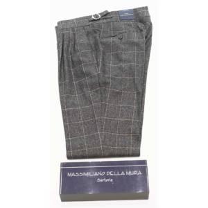 Pantalone doppia pince Della Mura check grigio