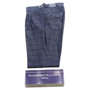 Pantalone doppia pince Della Mura tartan blu