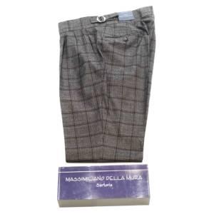 Pantalone doppia pince Della Mura tartan marrone