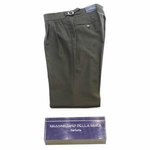 Pantalone doppia pince Della Mura tinta unita verde