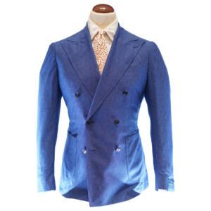 Giacca doppiopetto tessuto Fratelli Tallia di Delfino blu napoletano