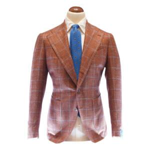 Giacca tre bottoni a check tessuto Linen Tweed by Loro Piana ruggine