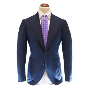 Giacca tre bottoni tessuto Caccioppoli in lana blu scuro