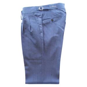 Pantaloni con doppia pence in lana e lino blu copiativo