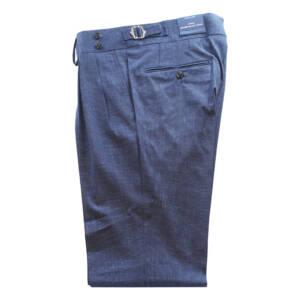 Pantaloni con doppia pince Pied de poule in lana e lino blu