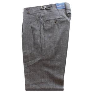 Pantaloni con doppia pince Pied de poule in lana e lino marrone
