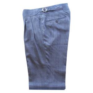 Pantaloni con doppia pince Principe di Galles blu navy