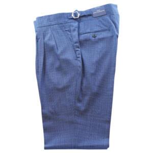 Pantaloni con doppia pince Principe di Galles in lana vergine blu royal