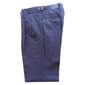 Pantaloni con doppia pince a quadretti in fresco lana blu