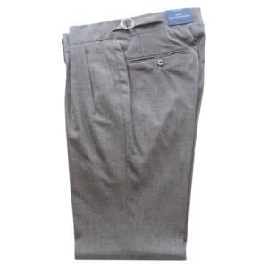 Pantaloni con doppia pince in fresco lana grigio