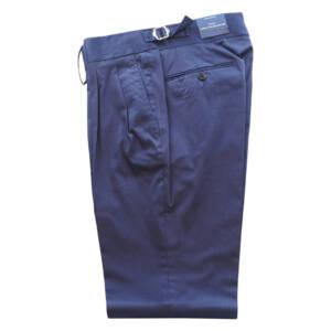 Pantaloni con doppia pince in puro cotone blu