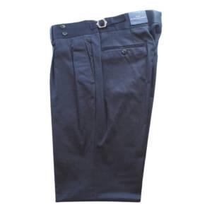 Pantaloni con doppia pince in puro cotone blu scuro