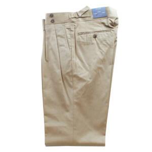 Pantaloni con doppia pince in puro cotone sabbia