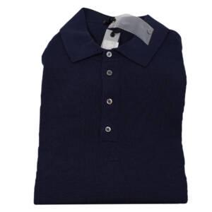 Polo Drumohr modern in lana merino blu
